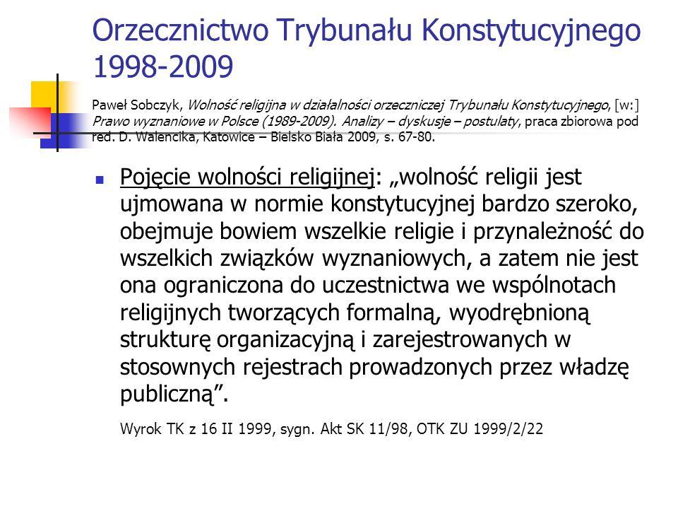Orzecznictwo Trybunału Konstytucyjnego 1998-2009 Paweł Sobczyk, Wolność religijna w działalności orzeczniczej Trybunału Konstytucyjnego, [w:] Prawo wyznaniowe w Polsce (1989-2009). Analizy – dyskusje – postulaty, praca zbiorowa pod red. D. Walencika, Katowice – Bielsko Biała 2009, s. 67-80.